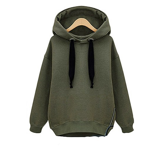 Women Fitness Hoodies Autumn Casual Long Sleeve Sport Pullover With Velvet Padded Skateboard Zipper Sweatshirts