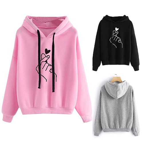 Women's Sweatshirt Long-Sleeved Hooded Girl  Top Heart Printed Skateboarding Hoodies Ladies Fitness Workout Tops Sportswear