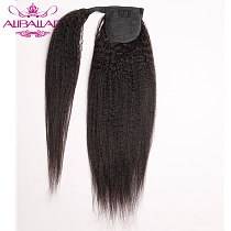 Kinky Straight Wrap Around Ponytail Human Hair Brazilian Pony Tail Remy Hair Clip In Ponytail Extensions For Women 120g