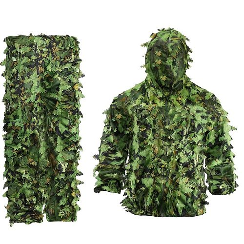 Sticky Flower Bionic Leaves Camouflage Suit Hunting Ghillie Suit Woodland Camouflage Universal Camo Set