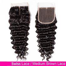 Fashow Hair Deep Wave Human Hair Closure 4X4 Lace Closure 100% Remy Human Hair Closure Brazilian Hair Swiss Lace Top Closure
