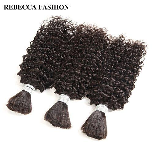 Rebecca Brazilian Remy Curly Bulk Human Hair For Braiding 1/3/4 Bundles 10 to 30 Inch Color 1B/99J Hair Extensions