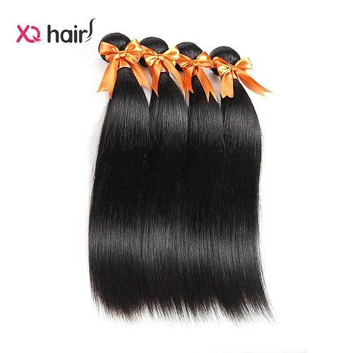 XQ Straight Hair Bundles 100% Human Hair  Brazilian Hair Bundles Weave 4 Bundles Deal Natural Color Extension 8 - 26 inch Hair