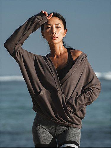 Oyoo Cotton Women Hoodie Grey Cozy Running Training Pullover Loose Sweatshirt Soft Sports Wear V Neck Sports Sweater Yoga Jacket