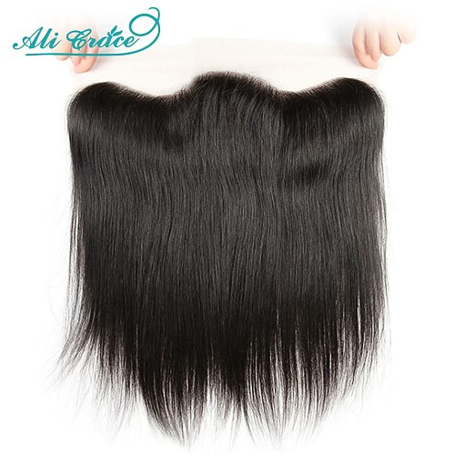 Ali Grace Brazilian Straight 13x4 Lace Frontal Medium Brown Lace Free/Middle Part Frontal 130% Density Remy Hair HD Lace Front