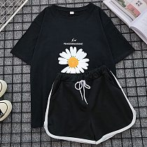 Women's Daisy Printing Sports Suit Women's Summer Loose Ins Fashionable Short-sleeved Shorts Casual Two-piece Suit