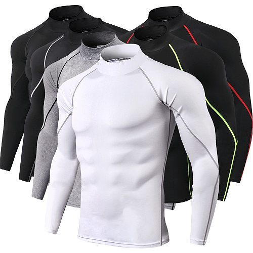 Men Bodybuilding Sport T-shirt Quick Dry Running Shirt Long Sleeve Compression Top Gym T Shirt Men Fitness Tight Rashgard