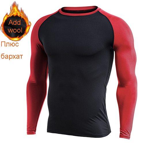 Mens Fleece Sports T-shirts Compression Fitness Sweater Cross-Fit Jersey Running Tops keep-Warm Rashgard Sport Tshirt for Autumn