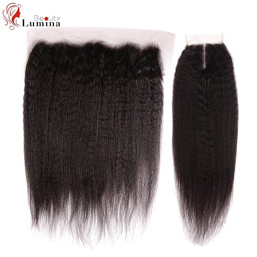 Yaki Straight Hair Closure Frontal Human Hair 4x4/13x4/13x6 Lace Frontal Free/Middle/Three Part Lace Closure Frontal 150 Density
