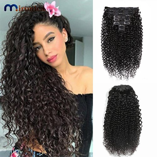 Clip in 100% Human Hair Extensions Kinky Curly Clip Ins Natural Black Color Full Head 8 Pieces And 120g/Set Remy Brazilian Hair