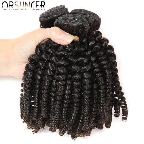 ORSUNCER Brazilian Bouncy Curly Medium Ratio 8 -18  Non-Remy Human Hair Weaves 1/3/4 Bundles Funmi Hair Extension Natural color
