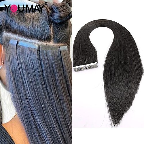 Silky Straight Tape In Human Hair Extensions Machine 8-30 Inch Skin Weft Brazilian Virgin For Black Women Bundles Weave YouMay