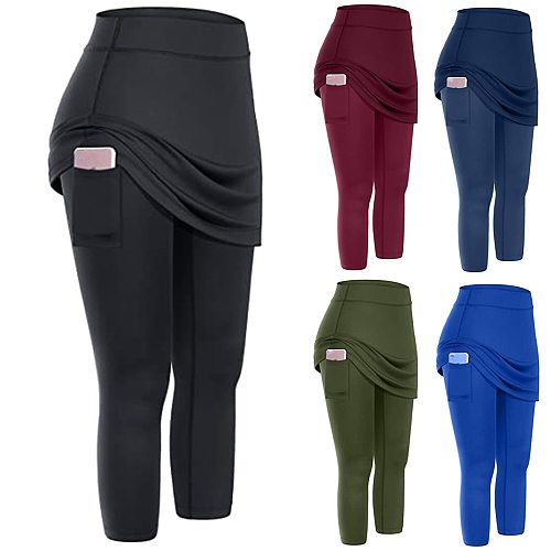 40# New Women Leggings With Pockets Tennis Skirted Leggings Pockets Elastic Sports Yoga Capris Skirts Legging штаны для женщин
