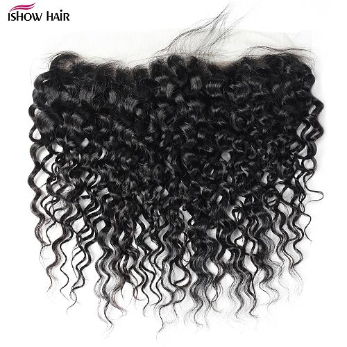 Ishow Brazilian Water Wave Lace Frontal 13X4 Lace Frontal Closure Pre Plucked Medium Brown Ear To Ear Lace Closure Human Hair