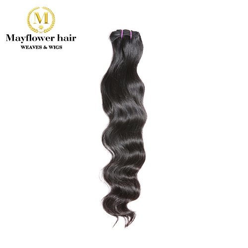 Mayflower Original Raw Virgin Indian temple hair Natural Wavy Not by steam process Silky Luster Soft Bouncy wavy 12 -28