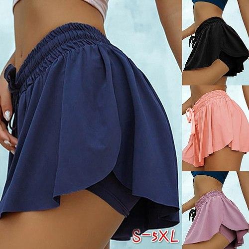 Summer Women Solid Colors Double-Layer 2 in 1 Sports Elastic High Waist Workout Golf Tennis Skirt Leggings Fitness Pantskirt#