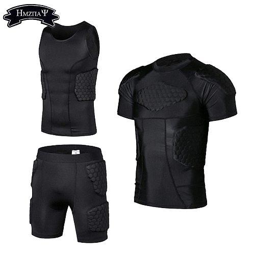 Men's Padded Shirt Training Vest T-shirt Short Set Ribs Thighs Buttocks Protector Football Basketball Hockey Protective Gear