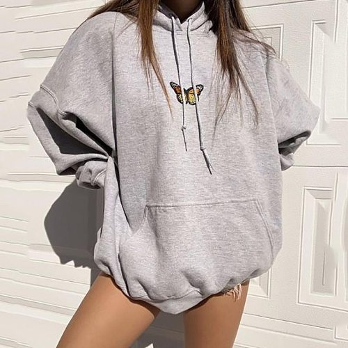 Butterfly Pattern Sport Casual Gray Hoodies Women Fashion Long Sleeve Loose Pullover Pocket Holiday Hip Hop Sweatshirt Outerwear