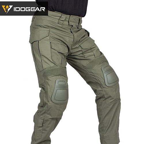 IDOGEAR G3 Combat Pants with Knee Pads Airsoft Military Tactical Trousers  CP Gen3 Range green CT Cotton polyster