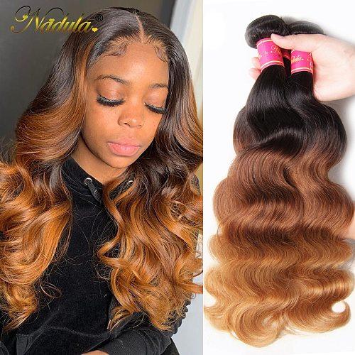 Nadula Hair 3 Bundles/Lot Peruvian Hair Body Wave 3 Bundles Human Hair Ombre Weaves T1b/4/27 Color Remy Hair Extensions