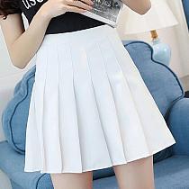 Girls Women High Waist Pleated Mini Skirt Slim Waist Casual Tennis uniform Skirt Fashion mujer Solid Vogue Dropship#0710