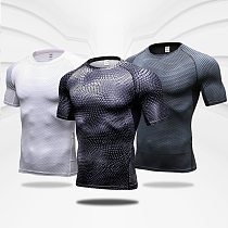 Quick Dry Workout Running Shirt Compression Fitness Tops Breathable Jersey Gym T-shirts Clothing Rashguard Male Sport Shirts Men