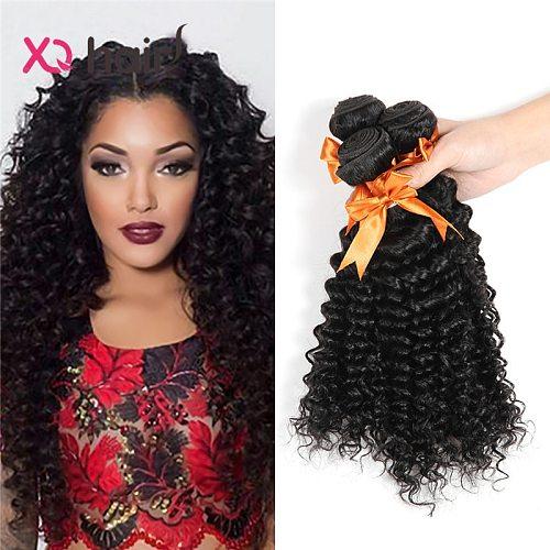 XQ Hair deep curly 3 Bundles Weave Bundles 8-26Inch  100% Human Hair Bundles Natural black Color Malaysia hair Non Remy Hair