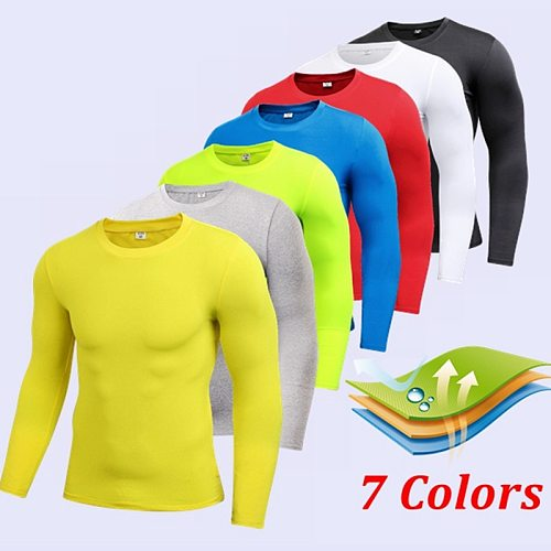 NEW Comfortable Mens Compression Under Base Layer Top Long Sleeve Tights Sports Rashgard Running T-shirt Gym T Shirt Fitness
