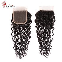 Water Wave 4x4 Lace Closure With Baby Hair Brazilian Remy Human Hair Closure Free Part Natural Color 8-24 inches 130 Density