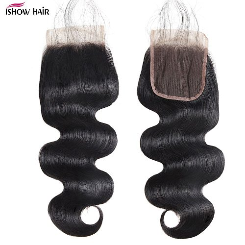 Ishow 4X4 Lace Closure Brazilian Body Wave Human Hair Closure With Baby Hair Natural Color Non Remy Brazilian Lace Closure