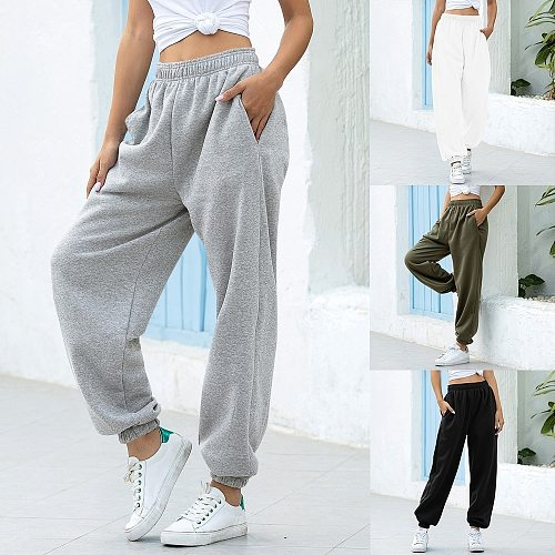 2021 Women Casual Sweatpants Loose Elastic Waist Sports Pants Solid Sweatpants Baggy Ankle-length Trousers Black Gray High Waist
