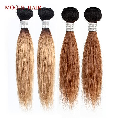 MOGUL HAIR Ombre Honey Blonde Weave Dark Brown Natural Black 1B 613 Indian Straight Remy Human Hair Extension 10-16 inch