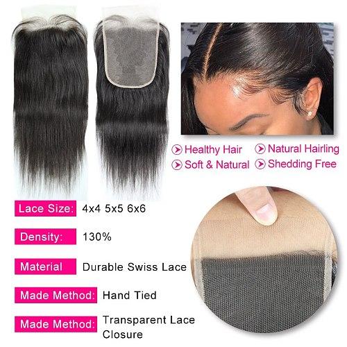 HD Lace Closure Brazilian Straight Virgin Hair 4x4 5x5 Transparent Lace Closure Prepluncked Closure Unprocessed Extensions