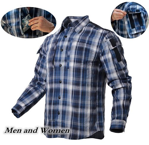 Army Fan Plaid Tactical Shirt Men Women Long Sleeve Breathable Cotton Plaid Shirt Outdoor Hiking Training Military Shirt Uniform