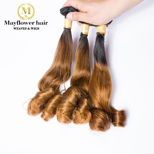 Mayflower Funmi hair bouncy Egg curl 1/2/3 bundles mixed length 10-18  Double drawn Remy hair sew in weft Ombre Color T1B/30
