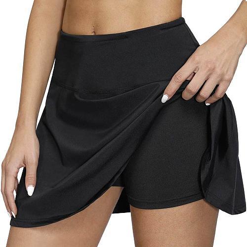 Summer Women Skinny Tennis Skirts Shorts 2 in 1 Fitness Running Jogging Yoga Shorts Elastic Pockets Sports Golf Tennis Skirt