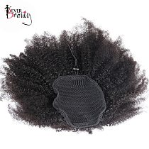 Ponytail Human Hair Mongolian Afro Kinky Curly Wrap Around Ponytails 4B 4C Clip In Extensions Natural Color Ever Beauty Remy