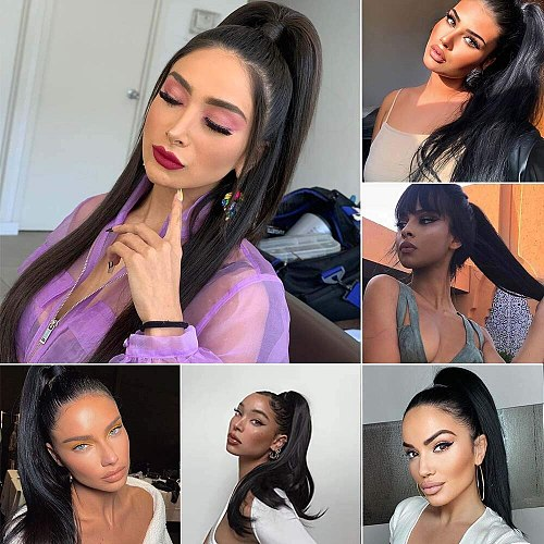 Sapphire Long Straight Drawstring Human Hair Ponytail Natural Color Remy Hairpiece Clip In Hair Extension Ponytail for Women