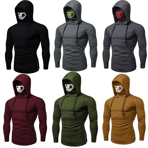 Men Casual Hip-Hop Gym Thin Hoodie Long Sleeve Pullover With Mask Sweatshirt Top