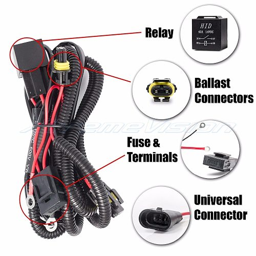 Rouxit car kit xenon HID wire harenss H1 H3 9005 9006 HB3 HB4 880 H11 H7 HID Relay Harness wiring kit motorcycle 12V 35W/55W