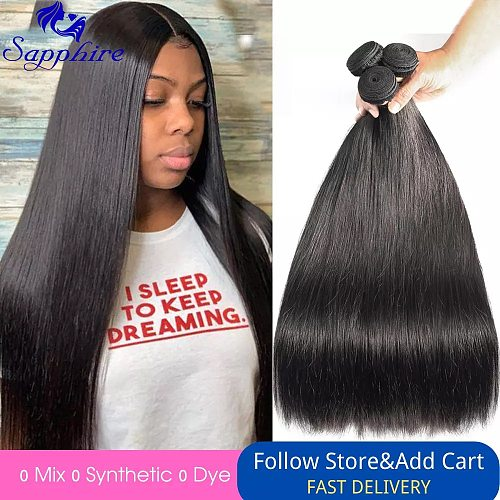 Sapphire Brazilian Straight Human Hair Weave Bundles Natural Color Remy Human Hair Extension Brazilian Human Hair Bundles