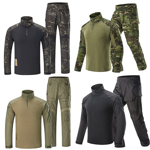 Airsoft Hunting Pants G3 Combat Shirt Pants with Pads Camoping Tactical Multicam Trousers MultiCam Forces Hunting Camouflage