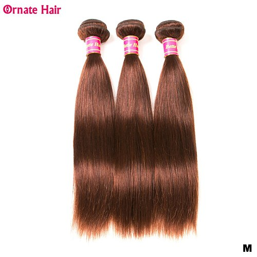 3 Bundles Straight Hair Bundles Brazilian Hair Weave Bundles Non-Remy Human Hair Weave Pre-Colored 2#/4# Short Hair For Women