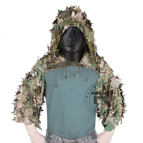 ROCOTACTICAL Breathable Sniper Ghillie Hood with Laser-Cut 3D Leaves, Lightweight Ghillie Suit, Viper Hood for Airsoft, Hunting