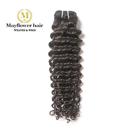 Mayflower 1/2/3/4 bundles 100% Unprocessed Virgin Malaysian hair Deep wave natural color Full cuticle hair weft 12-26  M Density