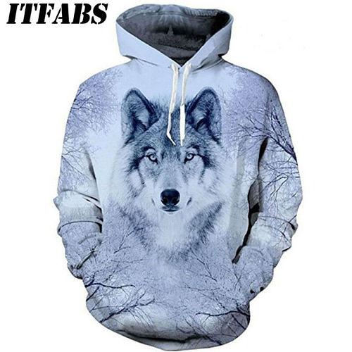 Autumn Winter Women Men Animal Graphic 3D Wolf Print Hoodie Sweater Sweatshirt 2020 Fahsion Long Sleeve Pullover Tops