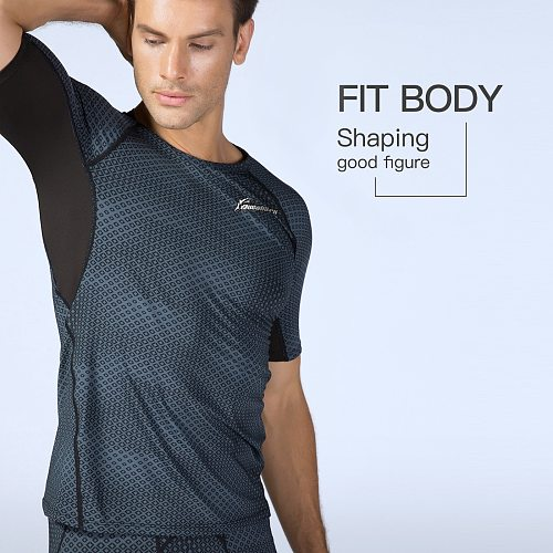 Queshark Pro Men Printed Running Shirts Men gym clothing Fitness Bodybuilding Training Skinny T-shirt Quick Dry Workout Tights