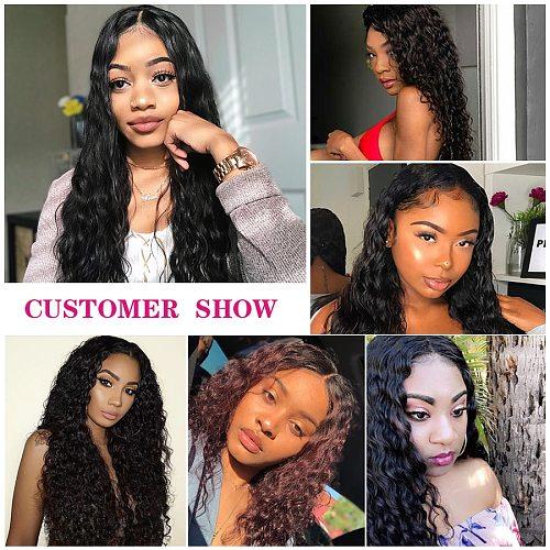 Deep Wave Bundles Curly Hair Bundles Black Women Human Hair Bundles 30 Inch 1 3 4 Brazilian Hair Extensions Water Wave Bundles