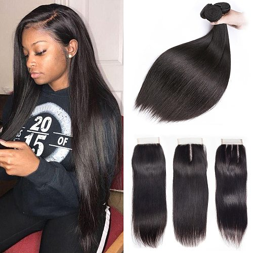 Brazilian Straight Hair Bundles With Closure 3 Pcs Human Hair Bundles With Closure Hair Extension Remy 30Inches Fashion Queen