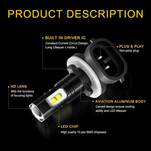 2PCS H27W/2 Led H27 881 Led Bulb 2400LM 6500K White 50w Car Fog Light Front Head Driving Running Lamp Auto 12V H27W/2 H27W